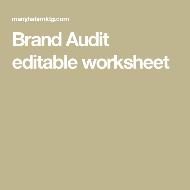 Brand Audit editable worksheet | Commercial real estate