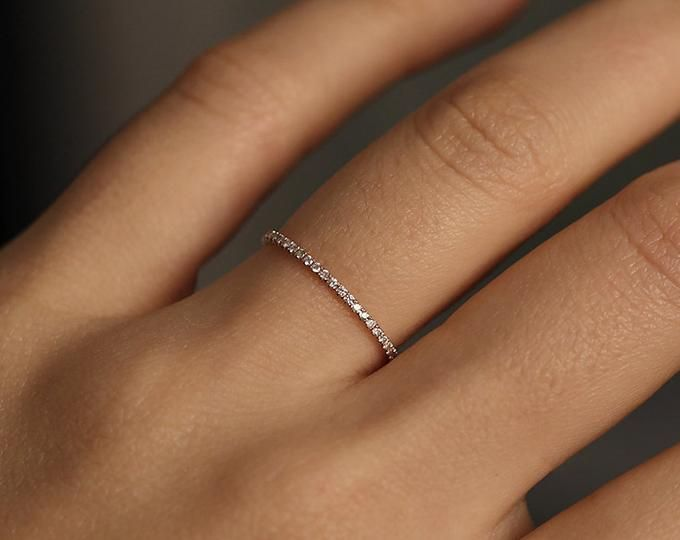 Minimalist Wedding Band, Diamond Wedding Ring, Diamond Wedding Band, Diamond Engagement Band, 1.2mm Full Round Wedding Band, Engagement Ring