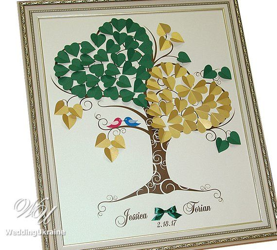 Personalized Gold Green Wedding Love Tree Guest Book Ideas With Custom Names And Birds Modern Al
