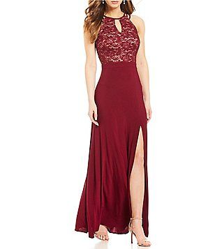 2954d033ff8 Morgan   Co. Lace-Bodice Spider-Back Long Dress