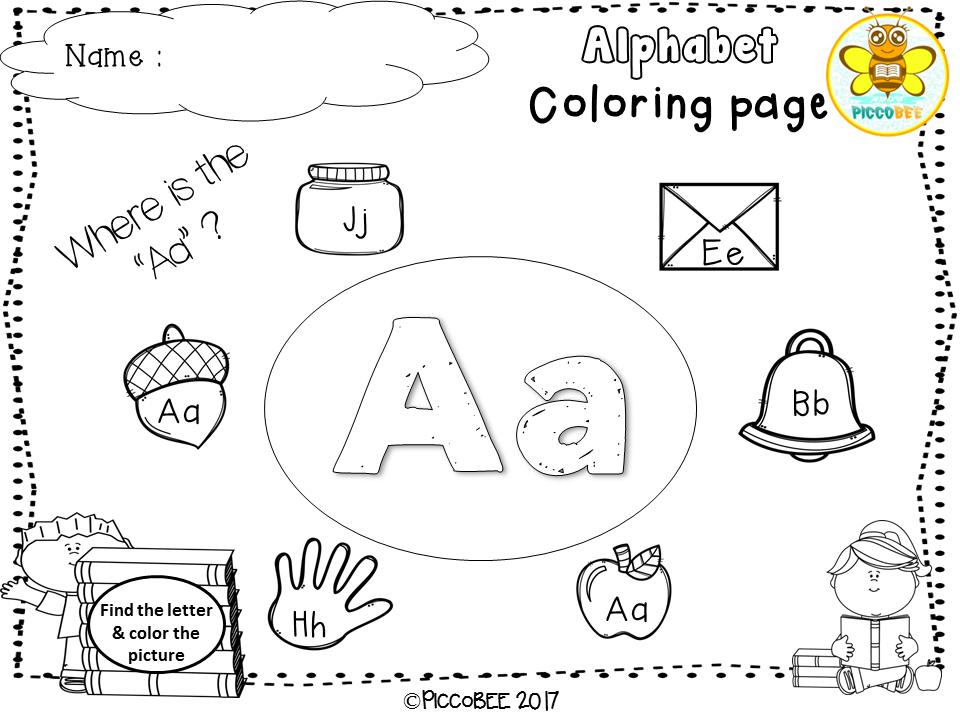 Freebie Alphabet Coloring Pages, Pre-K, Kindergarten, First Grade ...
