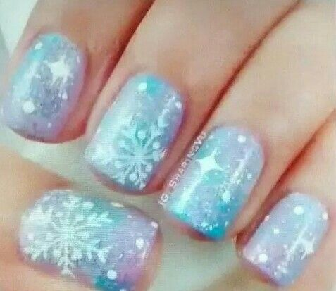 beautiful light purple  blue nails with snowflake topping