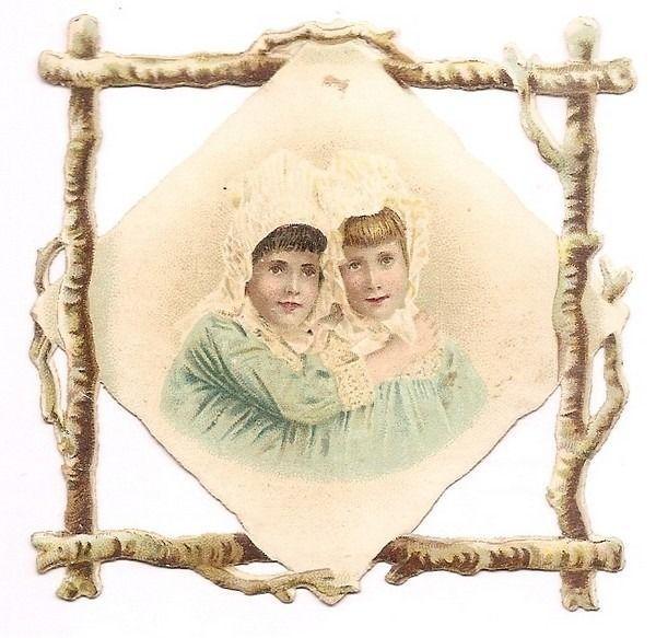 Les Deux  Fillettes - - Buste Enfant  - - Chromo Decoupi  - Victorian Scrap