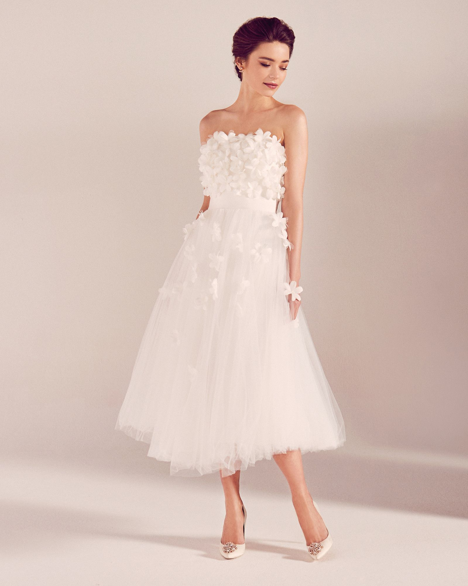 Floral appliqué tulle bridal dress - White  Wedding Dresses  Ted