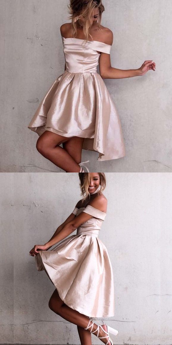 4ee87d03b5dd Short High Low Homecoming Dress,Off the Shoulder Dress,high low prom dress,pink  prom dress,cute party dress,fashion,homecoming