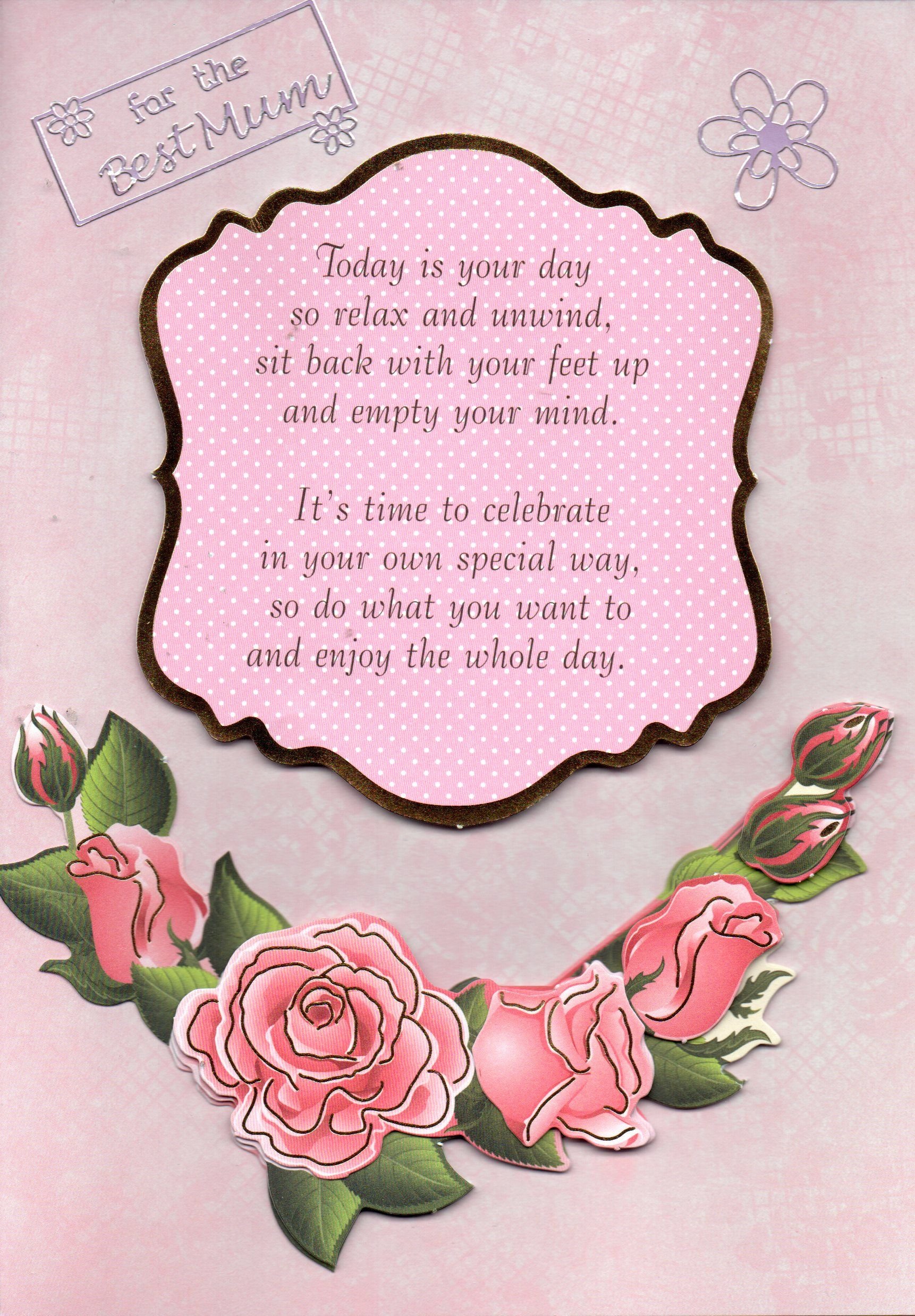 Pink roses handmade card featuring the message for the best mum pink roses handmade card featuring the message for the best mum along with a kristyandbryce Gallery