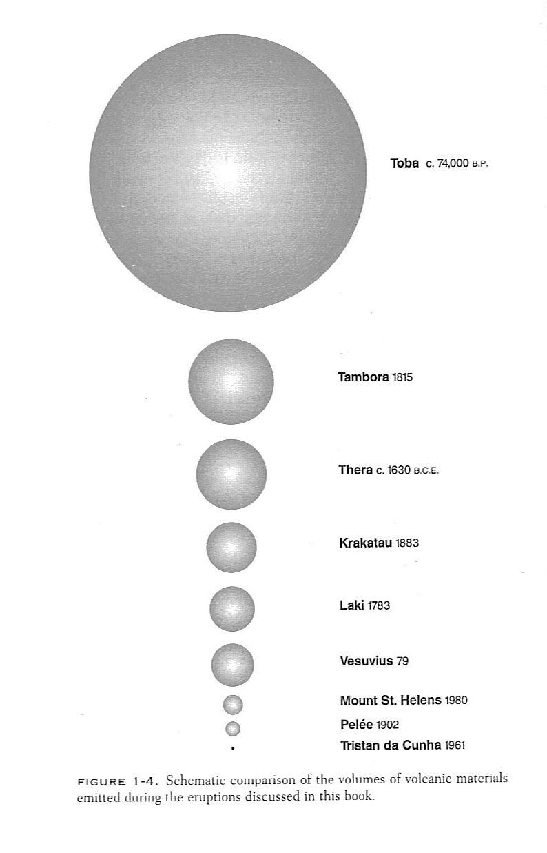 this is the difference between the sizes of the biggest volcanoes in the world toba is big especially compared to other volcanoes  [ 794 x 1237 Pixel ]