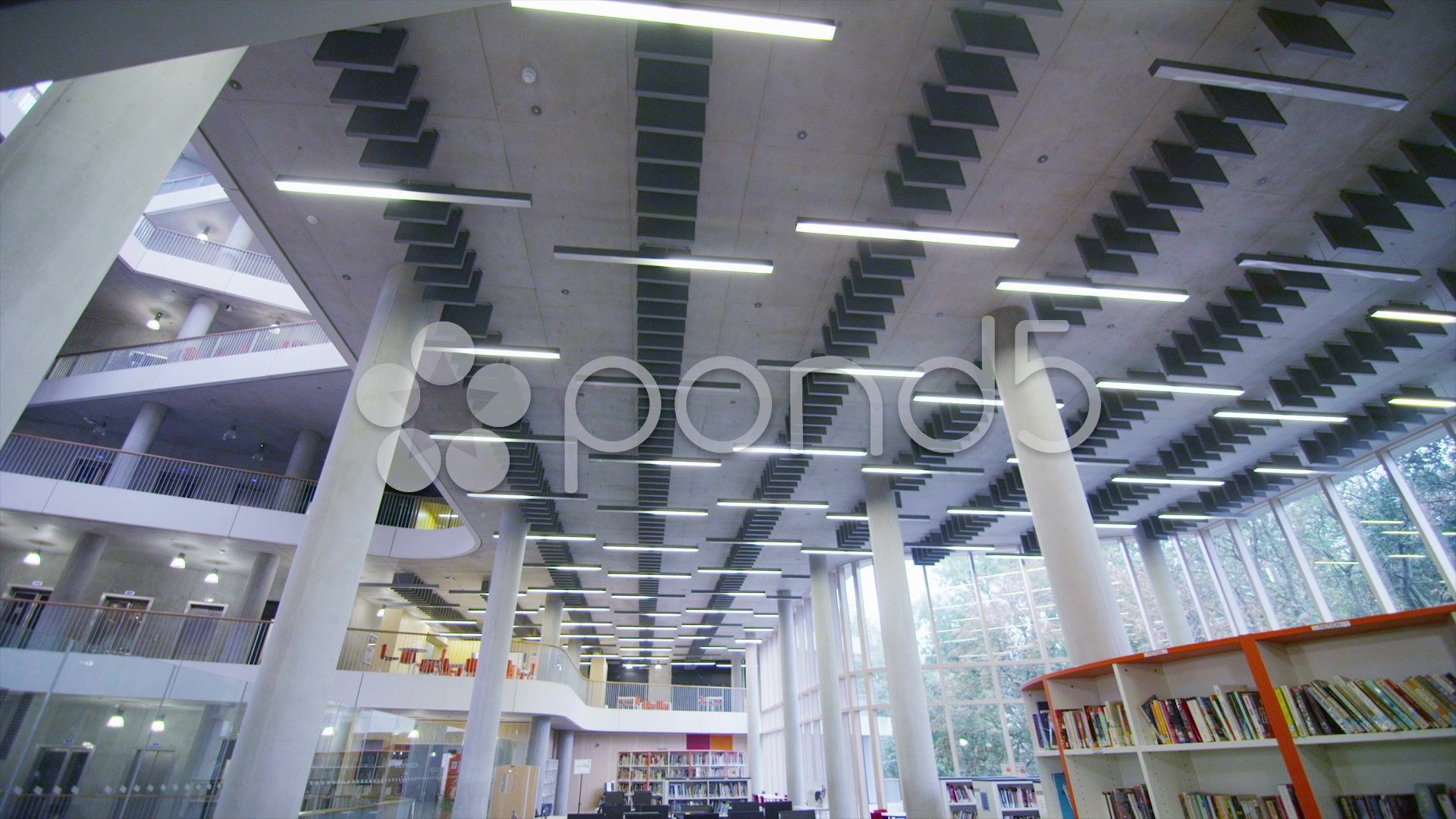 Interior view of the library in a large modern university