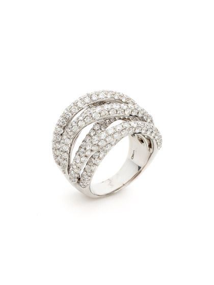 Odelia Jewelry Pave Diamond Multi Band Criss Cross Ring 7598 Gilt