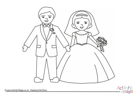 bride and groom coloring pages # 1
