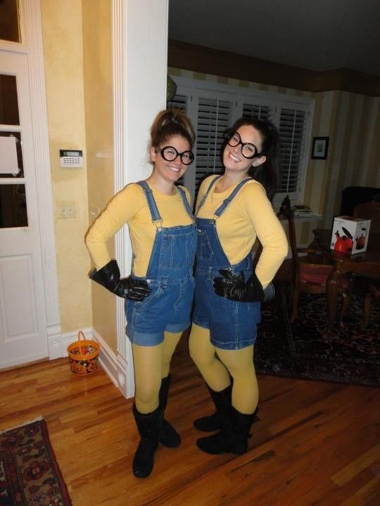 Cute DIY Despicable Me Minion Costumes for 2014 Halloween - Yellow T-shirt and Leggings Blue Overalls #2014 #Halloween & Cute DIY Despicable Me Minion Costumes for 2014 Halloween - Yellow T ...