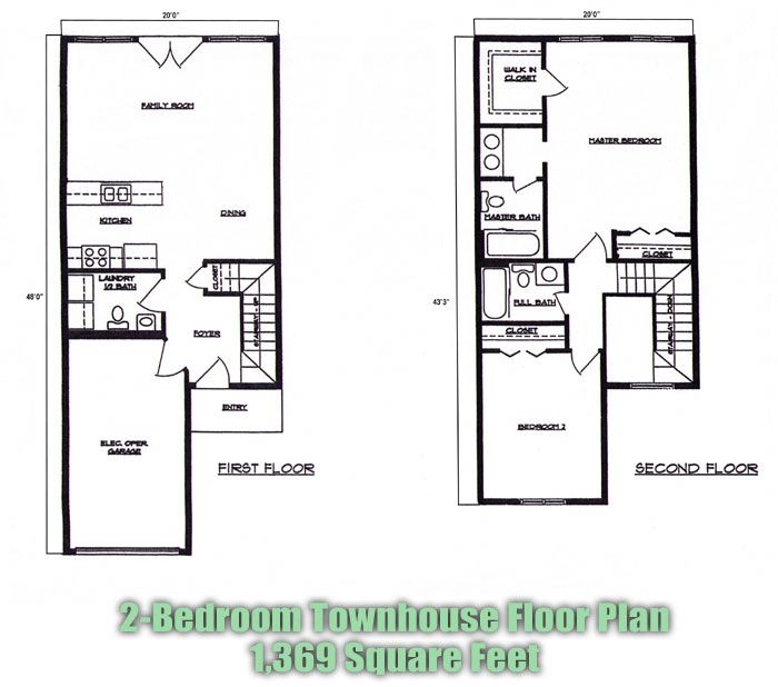 2 bedroom townhouse plans