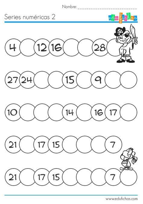 Rellenar series numéricas. Hojas de trabajo para niños | MATEMÁTICA ...