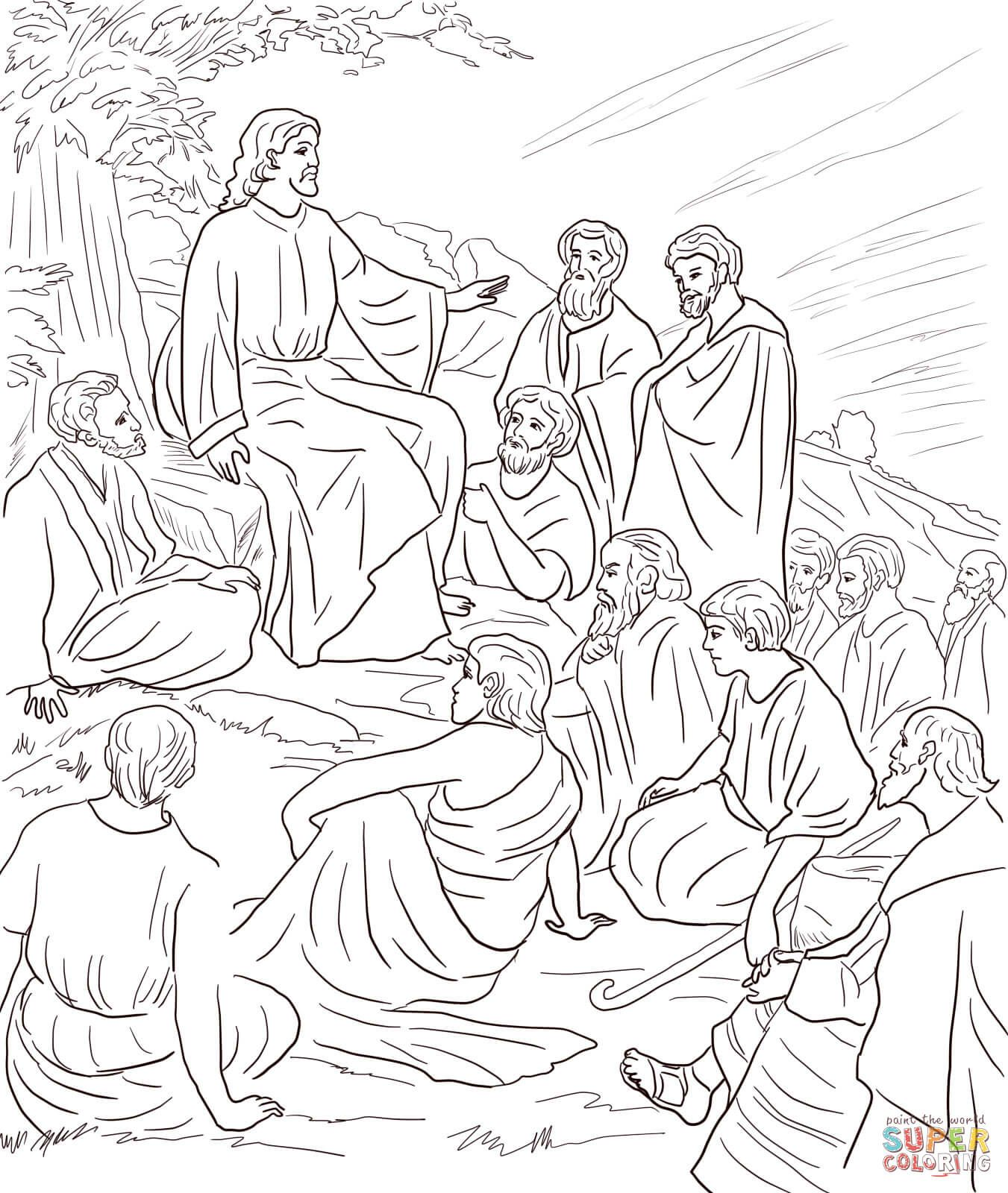 Jesus Teaching The Disciples Free Coloring Page