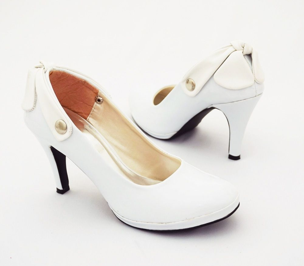Sepatu Heels Ribbon Elegan Model Fashionable Warna Putih Heels
