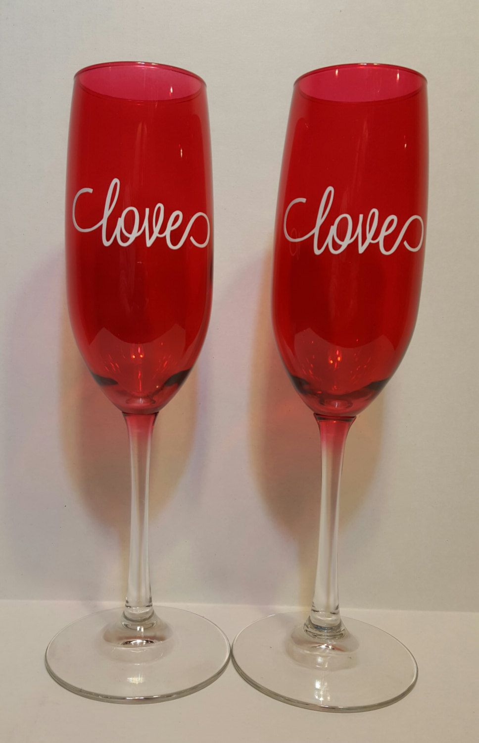 Ruby Red Flute Glasses Set Of 2 8 Ounce Champagne Glass With With Love Design 9 Inch Red Flute Glass Set By Kimmsho My Etsy Kimmshomedecor Flute