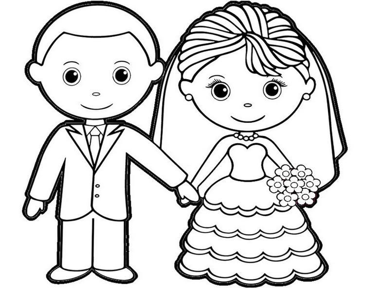 Charming Bride And Groom Coloring Sheet For Children Wedding