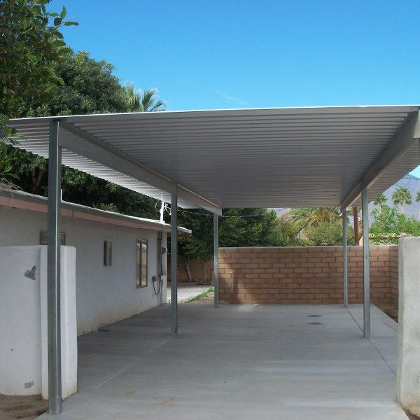 4 Post 2 Vehicle Carport Used As Patio Cover Diy Carport Carport Carport Makeover