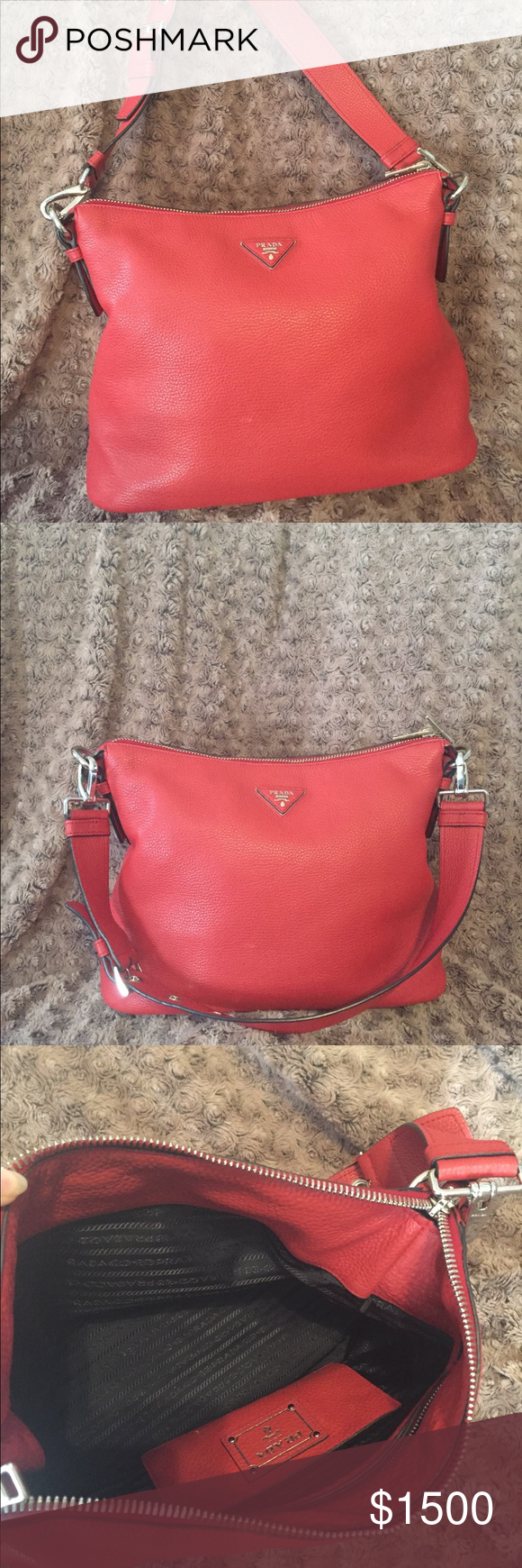3f382cf086b9 Authentic Red Prada Vitello Daino leather hobo bag Like new! It's only been  used a