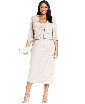 8fefbca0ebd Alex Evenings Plus Size Sleeveless Jacquard Sequin Dress and Jacket - MACY s !