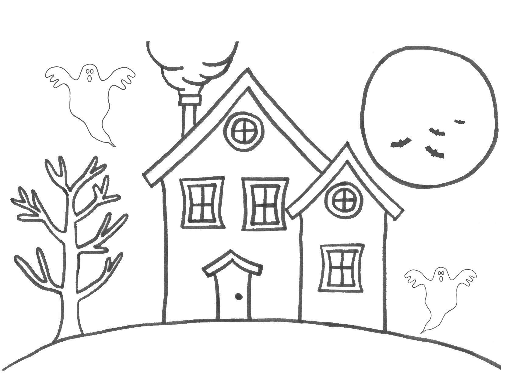 House Sun Tree Coloring Pages Printable