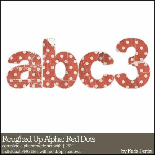 Roughed Up Alphabet: Red Dots - Digital Scrapbooking Alphabets