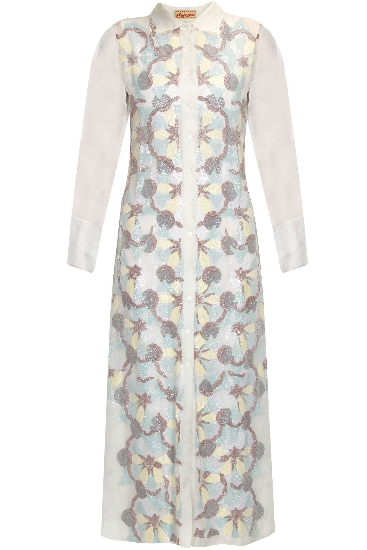 Off white bugal beads embroidered long shirt dress available only at