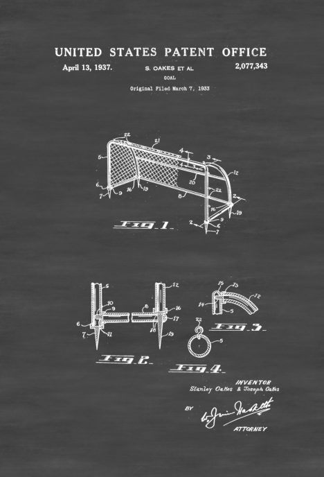 Soccer Goal Patent - Patent Print, Wall Decor, Soccer Art, Sports - copy plane blueprint wall art