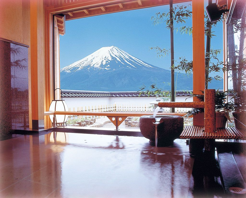 The view of Mount Fuji (Fujisan) from spots such as the private open ...
