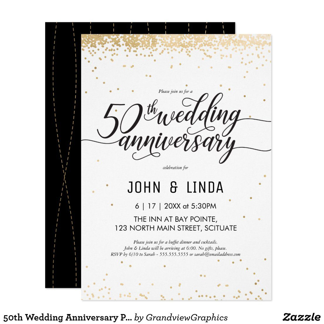 50th Wedding Anniversary Party Invite Golden Zazzle Com In 2020 50th Wedding Anniversary Party Wedding Anniversary Party Anniversary Party Invitations