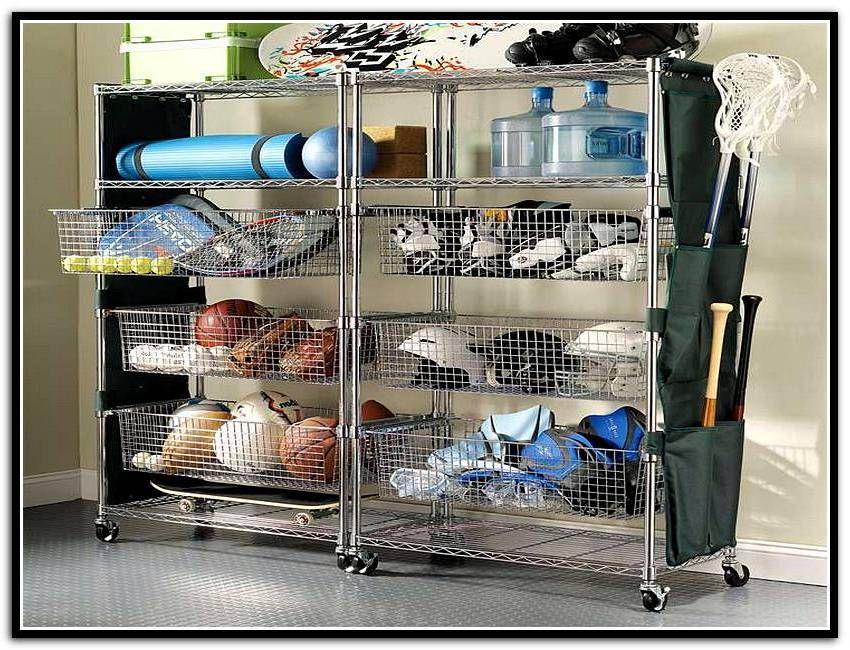 garage storage bins for sports equipment organization garage pinterest garage storage. Black Bedroom Furniture Sets. Home Design Ideas