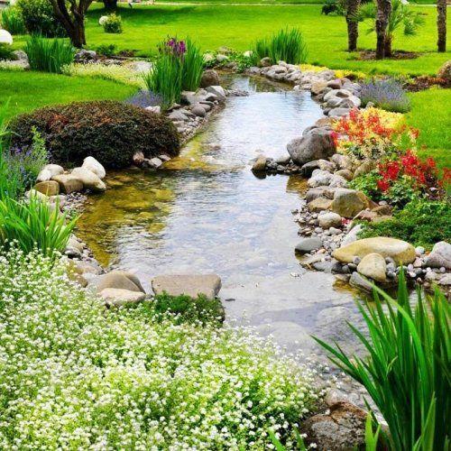 riachuelo en el jardin Jardín Pinterest Río, Jardín y Estanques - estanques artificiales