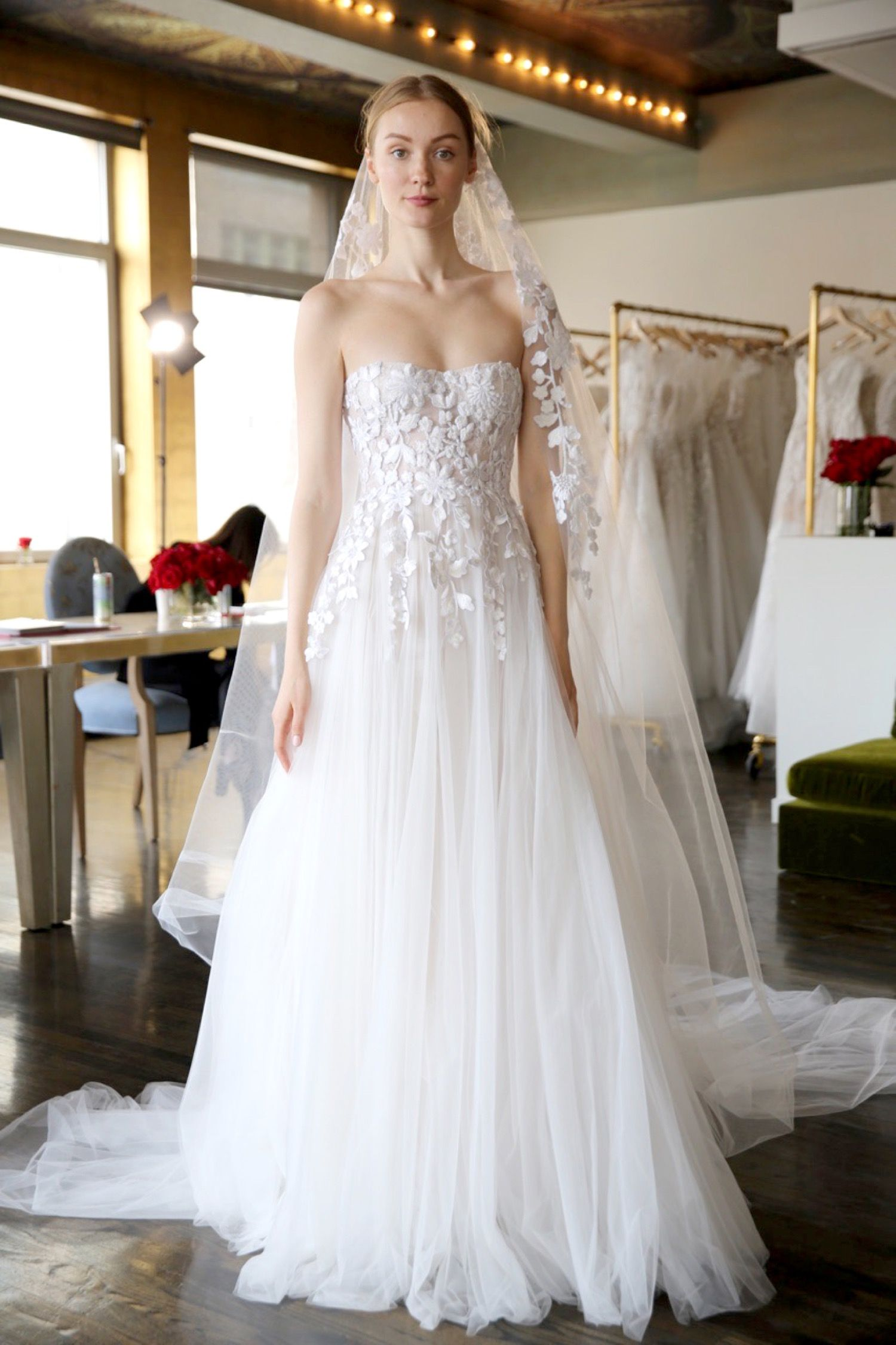 Reem Acra Weour Latest Gowns From Reem Acra Bridal Spring 2020 Collection Arrived Just In Time For Bri In 2020 Reem Acra Bridal Ruffle Wedding Dress Ball Gowns Wedding