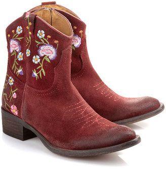 ShopStyle: Buffalo Cowboy-Stiefel aus bordeaux-farbenem Veloursleder im Vintage-Look