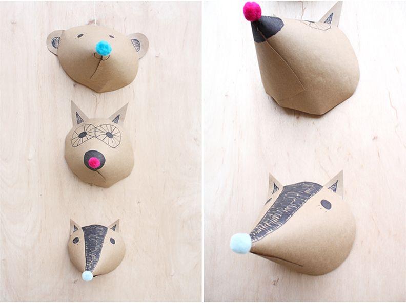 diy paper animal head kids pinterest papier bastelideen f r kinder und schule. Black Bedroom Furniture Sets. Home Design Ideas