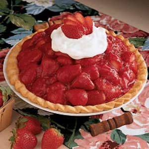 Sky-High Strawberry Pie Recipe -This pie is my specialty. It's fairly simple to make but so dramatic to serve. The ultimate taste of spring, this luscious pie has such a big, fresh berry taste I've had many request to bring it to gatherings. —Janet Mooberry, Peoria, Illinois