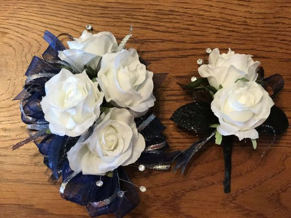 4 rose silk flower corsage and 2 rose boutonniere artificial flowers sheer organza and