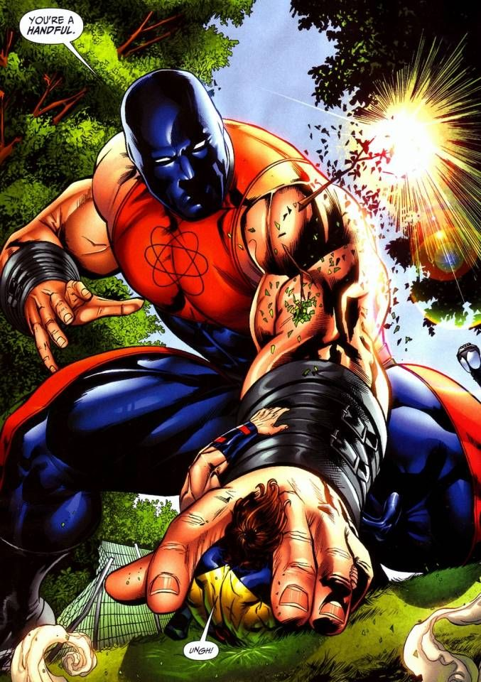 Atom Smasher, is a lot like the X-Men's Colossus: He's big and strong, but conflicted, and has made terrible decisions. He has been a villain a couple times (at least once) and his best arc was him acting as a mentor to young members of the JSA so they wouldn't make his mistakes.