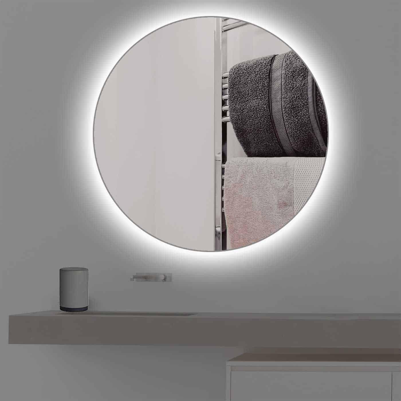 Runder Badspiegel Mit Beleuchtung In Kaltweiss Badspiegel Spiegel Mit Beleuchtung Spiegel