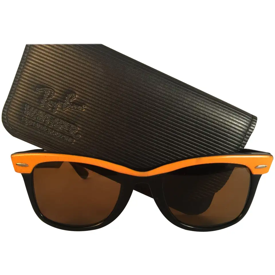 New Ray Ban The Wayfarer Two Tone Orange G15 Grey Lenses Usa 80 S Sunglasses In 2020 Grey Lenses 80s Sunglasses Orange Leather