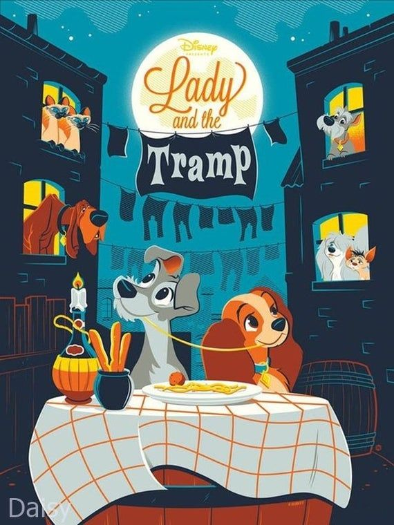5D DIY Diamond Painting Kit Disney Lady and the Tramp Classic Full Drill Cross Stitch Mosaic Painting Decor, Full Drill Square/Round