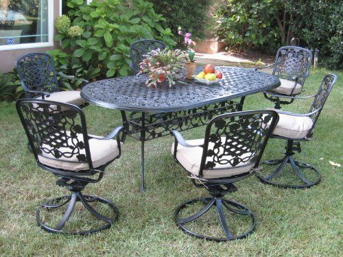Outdoor Patio Furnitures Solid Cast Aluminum Dining Set With 6 Swivel Arm Chairs
