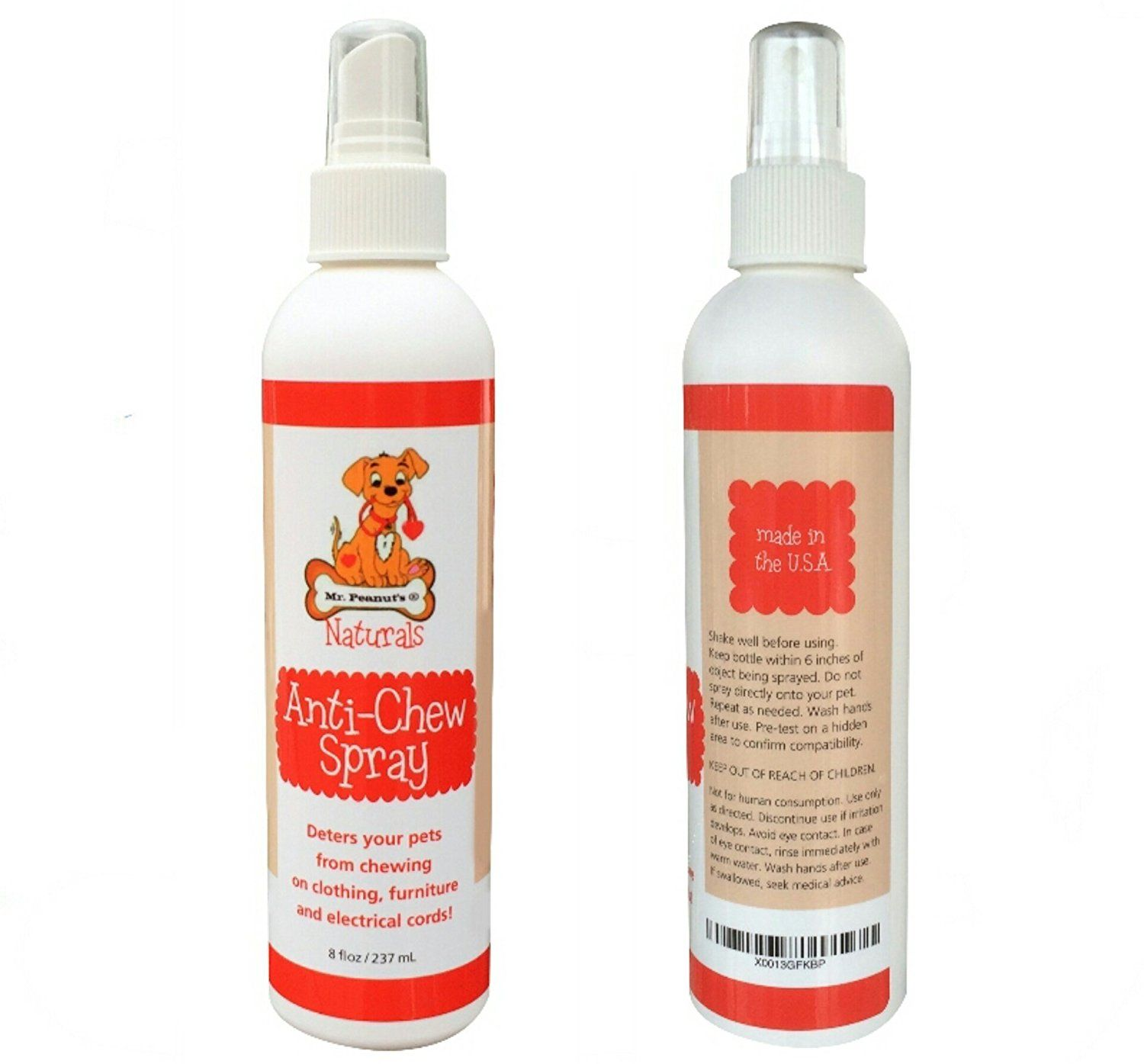 Mr Peanut S Alcohol Free Anti Chew Spray Non Toxic And Ultra Safe Chewing Deterrent Great Puppy And Kitten Train Cat Repellant Puppy Proofing Teeth Cleaning