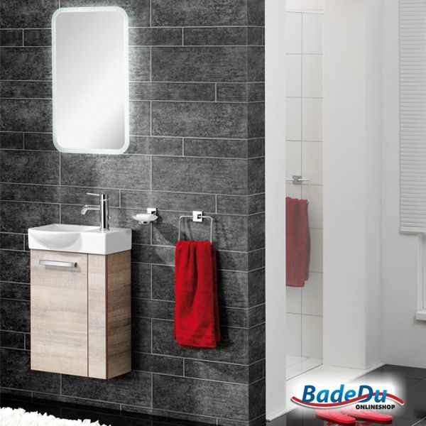 Fackelmann A-VERO Badmöbel Set Gäste-WC Farbe Graueiche-Optik (2-teilig) - Waschbecken links