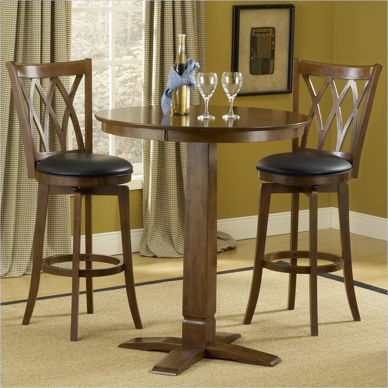 Hillsdale Dynamic Designs 3 Piece Pub Table Set In Brown Cherry Awesome Dining Room Pub Table Sets Design Inspiration
