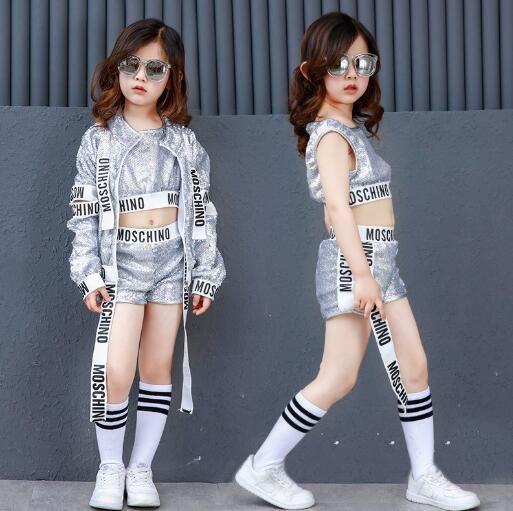 Kids Jazz Hip Hop Modern Dance Costumes For Girls Silver Sequin