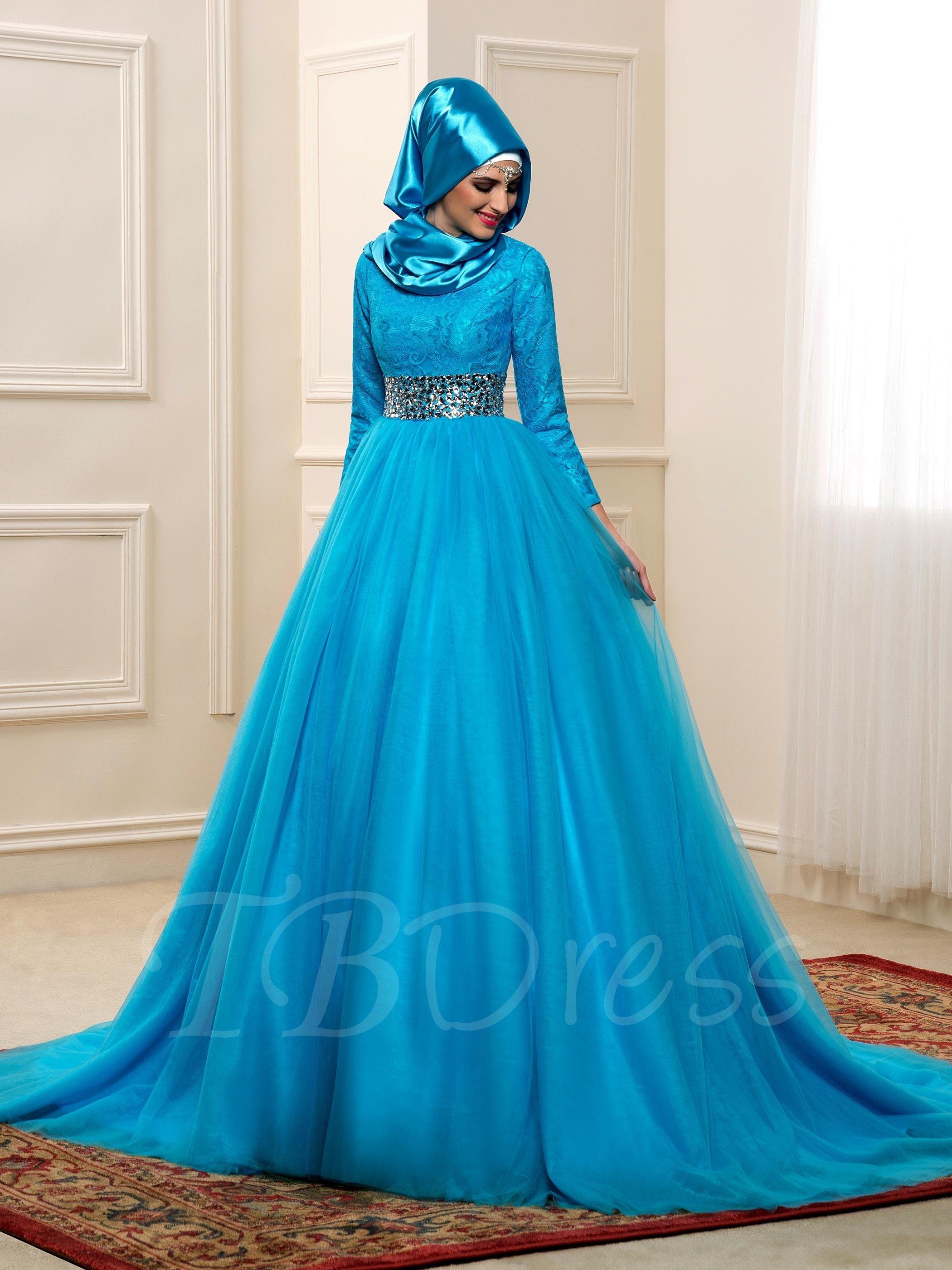 Chapel Beading Tulle Long Sleeves Muslim Arabic Wedding Dress in ...