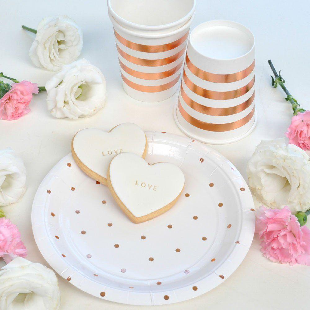 Striped Rose Gold Paper Cups