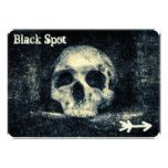 Halloween Skull Black Spot Pirate Party Card #halloween #happyhalloween #halloweenparty #halloweenmakeup #halloweencostume