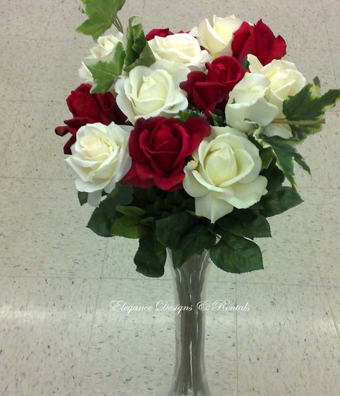 Desire Arrangement In 36 Trumpet Vase  Red & White
